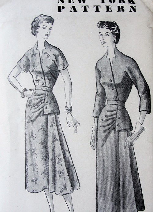 1940s STUNNING Cocktail Party Dress Pattern NEW YORK 825 Louise Scott Designed UNIQUE Side Peplum Dress, Notched Neckline Bust 30 Vintage Sewing Pattern FACTORY FOLDED