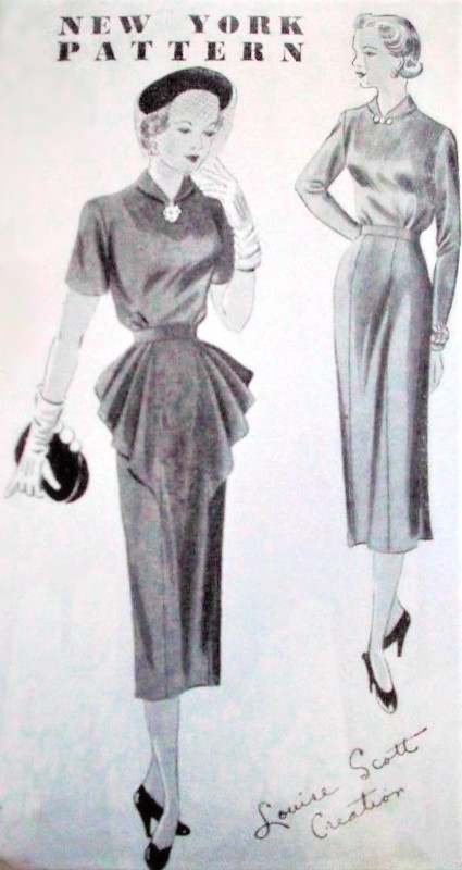 1940s STUNNING Cocktail Dinner Party Dress Pattern NEW YORK 854 Louise Scott Creation, Slim Dress with Plaited Drapery, 2 Style Versions Bust 30 Vintage Sewing Pattern FACTORY FOLDED