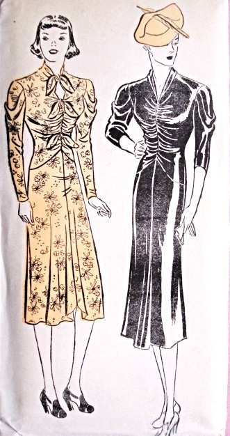 1930s Glamorous Evening Cocktail  Dress Pattern  New York 961 Lovely Draped Sleeves Shirred  Bodice Keyhole or V Neckline Two Hemline Designs Bust 38 Vintage Sewing Pattern FACTORY FOLDED