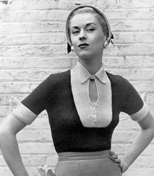Instant Pdf Pattern 1950s Vintage Knitting Pattern Perky 2 Tone