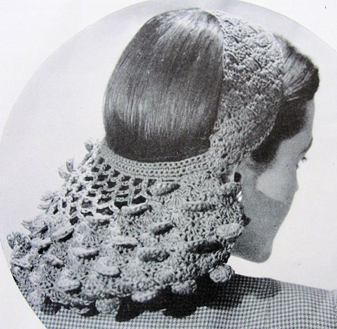 INSTANT DOWNLOAD PDF Pattern 1940s Vintage Crochet Hat Pattern Petal Snood Headband Hairband Crochet Hair Net