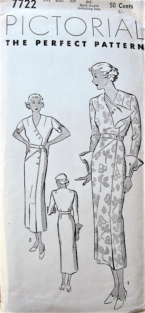 1930s STUNNING Art Deco Dress Pattern PICTORIAL Review 7722 Side Closing Slim Dress Removable JABOT and DEEP Cuffs, Chic Tucking Day or Dinner Dress Bust 40 Vintage Sewing Pattern FACTORY FOLDED