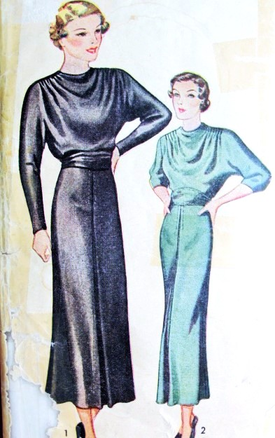 1930s Beautiful D Bodice Art Deco Dress Pattern Pictorial 7970 Day Or Evening Style Bust 32 Vintage