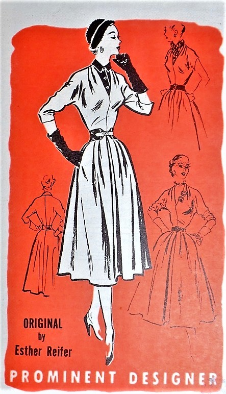 1950s LOVELY Day or Party Dress Pattern PROMINENT DESIGNER 392 Easy Day Dress With Dickey,or Low V Neckline for Evening Bust 30 Vintage Sewing Pattern FACTORY FOLDED