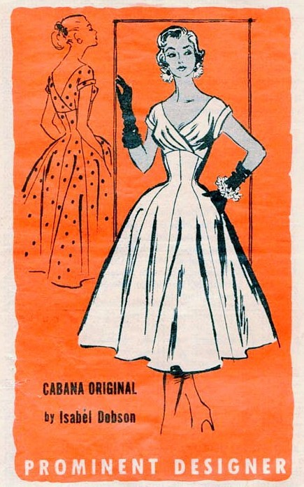 1950s Lovely Party Evening Cocktail Dress Pattern Cabana Original ...