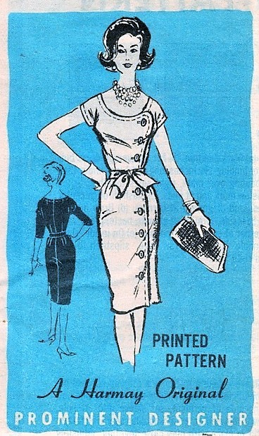 1960s STYLISH Daytime or After 5 Slim Dress Pattern PROMINENT Designer 334 Side Button Figure Hugging Dress Perfect Little Black Dress Bust 34 Vintage Sewing Pattern FACTORY FOLDED