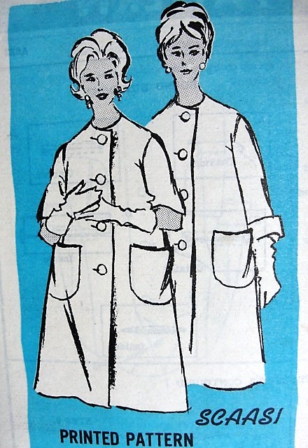 1960s CLASSY Coat Pattern PROMINENT Designer 622 Scaasi Designer Coat, Two Sleeve Options, Day or Evening Bust 34 Vintage Sewing Pattern FACTORY FOLDED