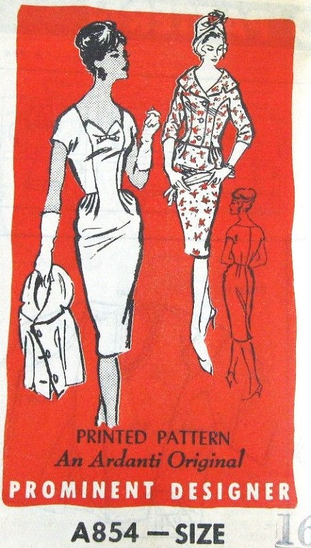 Late 50s STUNNING Cocktail Dress and Fitted Jacket Pattern PROMINENT DESIGNER A854 Ardanti Original Features Portrait Neckline Jacket Slim Wiggle Evening Party Dress Bust 36 Vintage Sewing Pattern