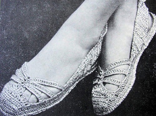 Instant Pdf Vintage Crochet Pattern 1940s Shoes Flats Crocheted