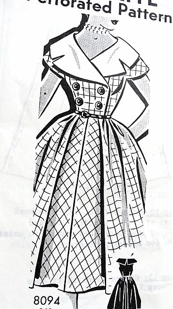 1950s LOVELY Wide Collar Dress Pattern Sew Rite 8094 Very Flattering Full Skirt Dress, Face Framing Collar, Day or Party Dress, Bust 34 Vintage Sewing Pattern FACTORY FOLDED