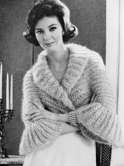 INSTANT PDF PATTERN 1960s Vintage Knitting Pattern Shrug Sweater Jacket Lovely Shawl Collar Bell Sleeves Day or Evening Unique Knit Pattern