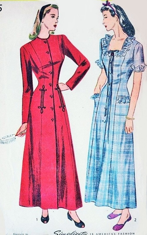 1940s PRINCESS Housecoat Robe Brunch Coat Dressing Gown Pattern ...