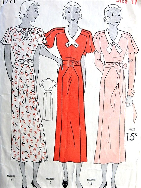 1930s Beautiful ART DECO Dress Pattern SIMPLICITY 1171 STUNNING Sleeve Styles Day or Evening Dress Bust 35 Vintage Sewing Pattern