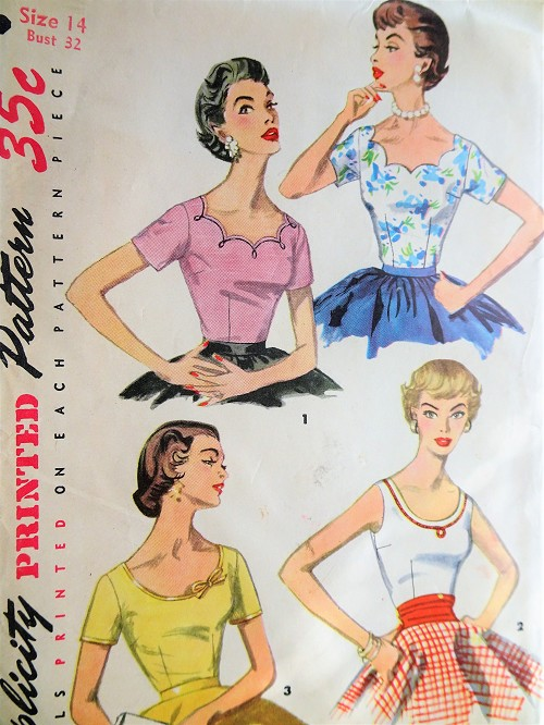 1950s PRETTY Blouse Pattern SIMPLICITY 1202 Four Lovely styles Day or Evening,Bust 32 Vintage Sewing Pattern