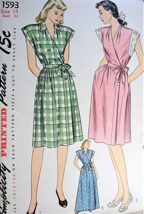 1940s FAB Wrap Dress or HouseCoat Pattern SIMPLICITY 1593 Surplice Bodice Housecoat Robe or Dress in 2 Lengths Bust 32 Vintage Sewing pattern FACTORY FOLDED