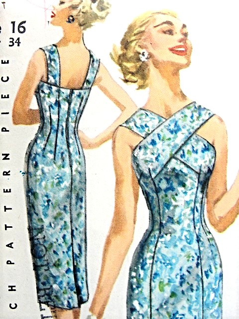 1950s BOMBSHELL Cocktail Evening or Day Sun Dress and Jacket Pattern SIMPLICITY 1619 Princess Line Sheath Flirty Criss Cross Front Neckline Strappy Back Fifties Bombshell Dress Bust 34 Vintage Sewing Pattern FACTORY FOLDED