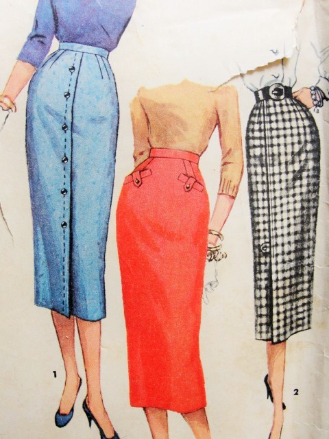 1950s Slim One Yard Pencil Skirts Pattern Simplicity 1690 Simple To