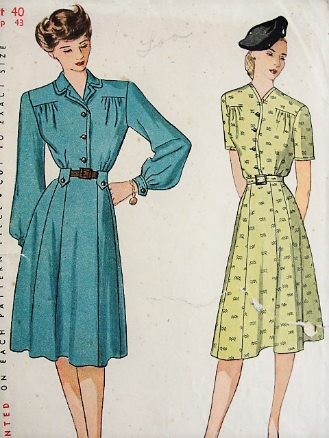 1940s CLASSIC Forties Tailored Dress Pattern SIMPLICITY 1711 Bust 40 ...