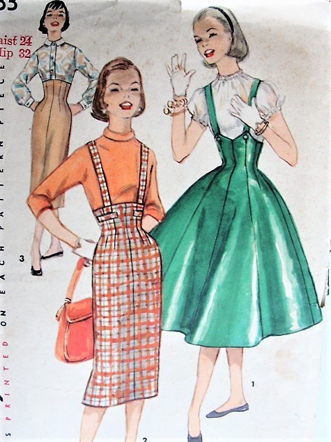 1950s Vintage CHIC High-Waisted Skirt With or Without Suspenders Simplicity 1733 Sewing Pattern Waist 24