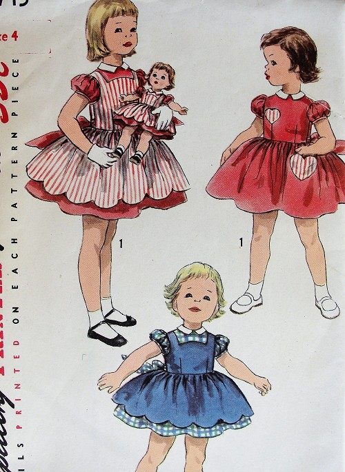 1950s DARLING Little Girls Dress, Pinafore and Matching Doll Clothing Pattern SIMPLICITY 1745 Adorable Styles and Cute Doll Clothes Childrens  Size 4 Vintage Sewing Pattern