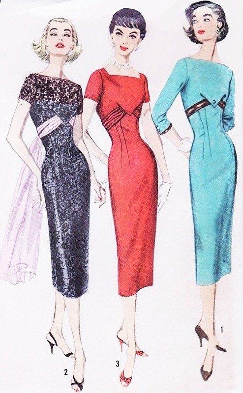 1950s GLAMOROUS Slim Sheath Cocktail Evening Dress Pattern SIMPLICITY 1794 Empire Style Bateau Neckline Flirty Flowing Sash Angelina Dress in The Tourist Movie Bust 34 Vintage Sewing Pattern UNCUT