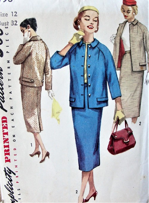 1950s STYLISH Suit Pattern SIMPLICITY 1798 Casual Raglan Sleeve Jacket and Slim Skirt Suit Bust 32 Vintage Sewing Pattern FACTORY FOLDED
