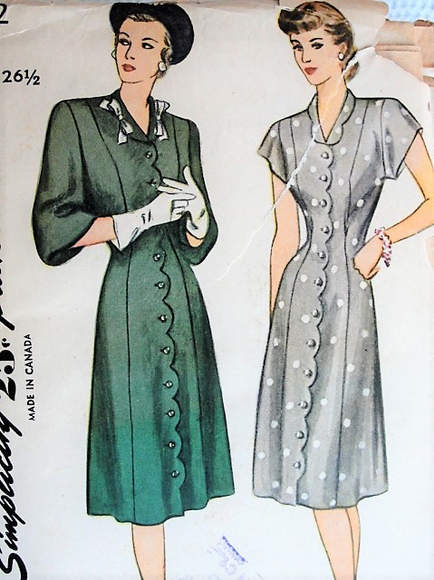 1940s Vintage PRETTY Dress with Scalloped Details in Two Styles Simplicity 1892 Sewing Pattern Bust 45