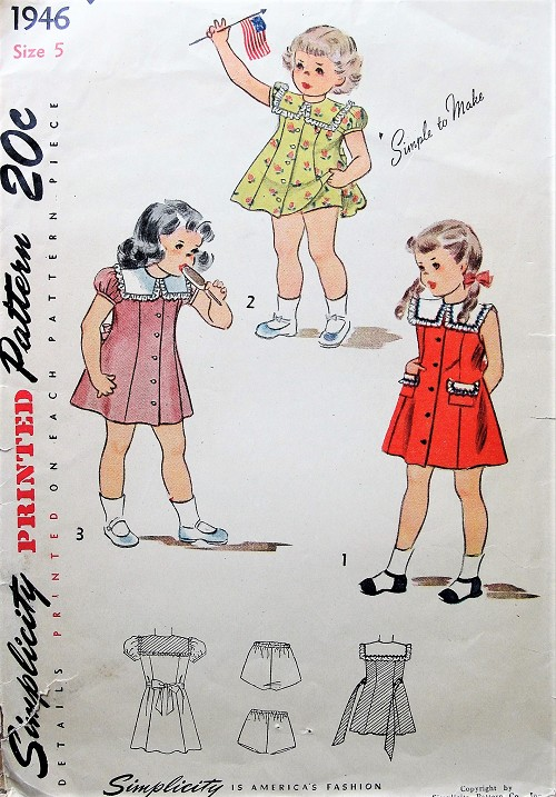 1940s SWEET Little Girls Dress and Panties Pattern SIMPLICITY 1946 Three Cute Childrens Style Versions Size 5  Simple To Make Vintage Sewing Pattern