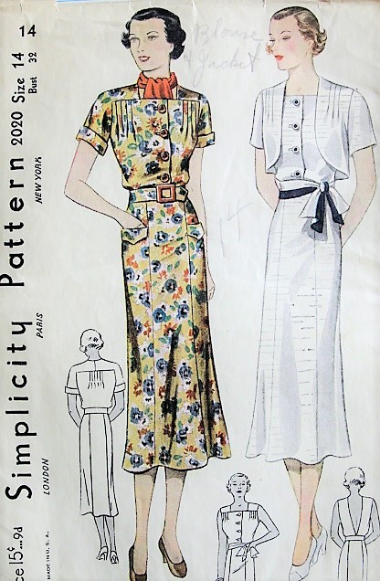 1930s STYLISH Dress and Bolero Jacket Vintage Simplicty Pattern 2020 Bust 32