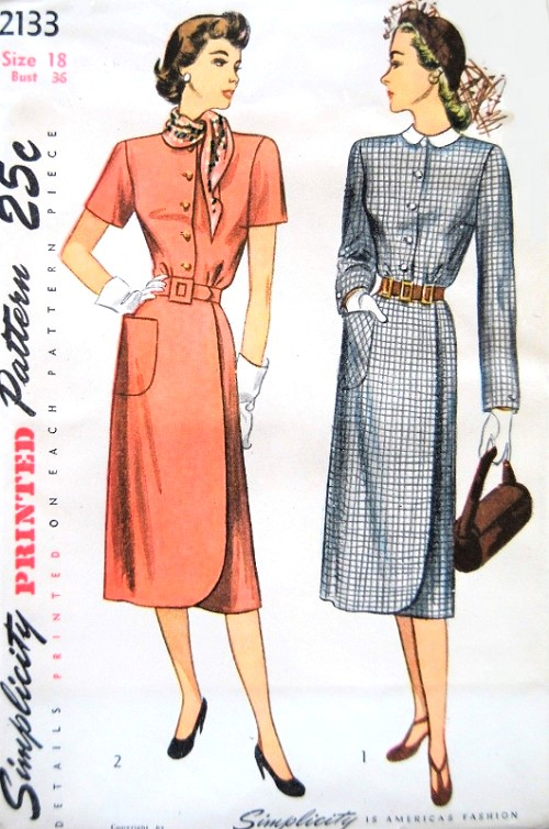 1940s STYLISH Slim Wrap Around Dress and Detachable Collar Pattern SIMPLICITY 2133 Chic Design Day or After 5 Bust 36 Vintage Sewing Pattern FACTORY FOLDED