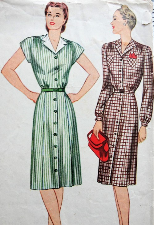 1940s Vintage CLASSIC Button-up Shirtdress with Gathered Skirt Simplicity 2162 Sewing Pattern Bust 34