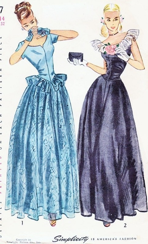 1940s Dreamy Evening Gown Pattern Simplicity 2227 Lovely Lace ...