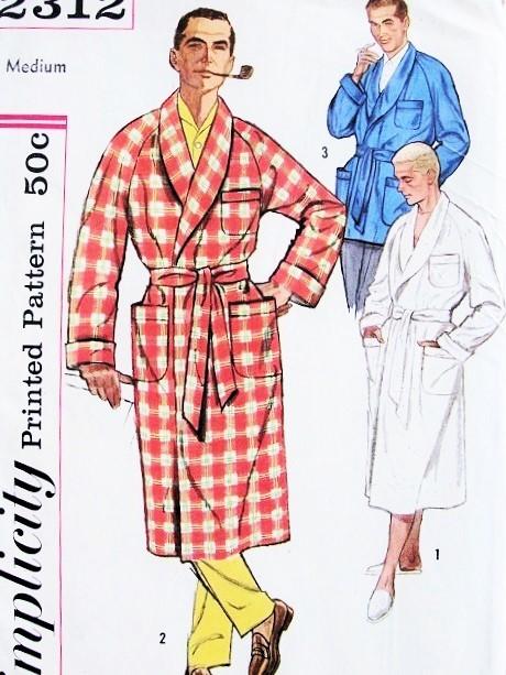 1950s Hugh Hefner Style Robe or Lounge Jacket Pattern SIMPLICITY ...