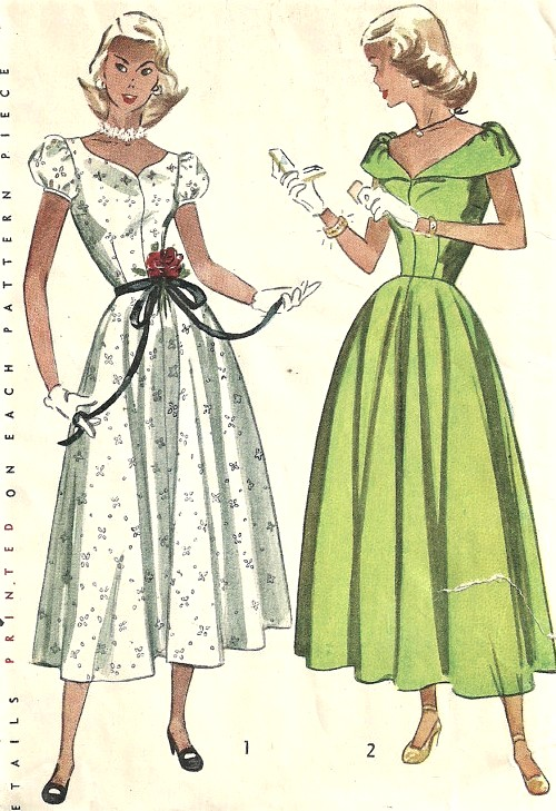1940s PRETTY Day or Party Dress Pattern SIMPLICITY 2412 Day or Ballerina Length, Two Lovely Necklines Bust 29 Vintage Sewing Pattern