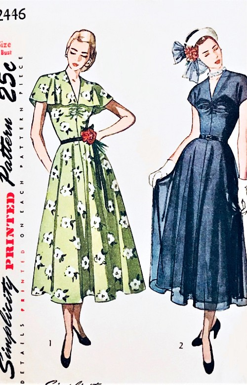 1940s BEAUTIFUL Party Evening Dress Pattern SIMPLICITY 2446 Two Lovely Versions Cape Collar or V Neckline, Perfect For Sheer Fabrics Bust 32 Vintage Sewing Pattern