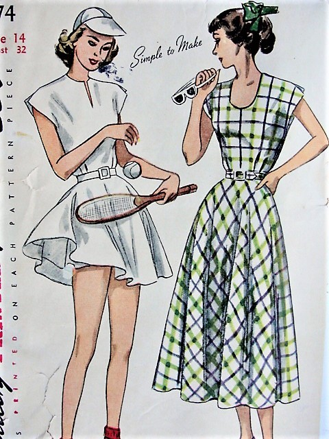 1940s STYLISH Dress, Tennis Dress, and Shorts Simplicity 2474 Bust ...