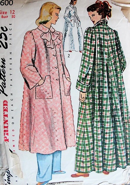 Vintage 1940s COZY Housecoat Simplicity 2600 Sewing Pattern Bust 30