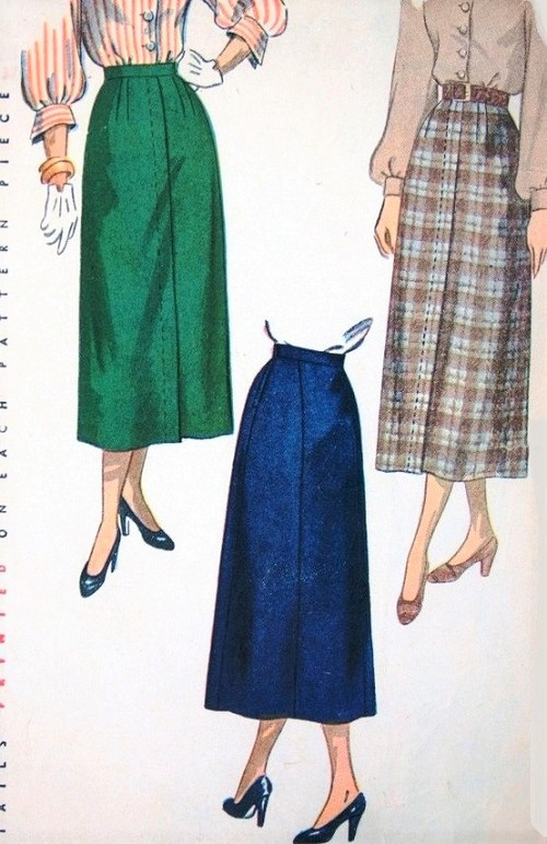 1940s CLASSY Slim Skirt Pattern SIMPLICITY 2624 Waist 26 Vintage Sewing Pattern