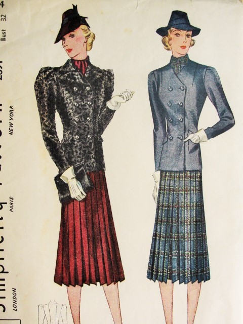 1930s  Suit Pattern Simplicity 2891 Beautiful 2 Jacket Styles Fabulous Sleeves Pleated Skirt Bust 32 Vintage Sewing Pattern
