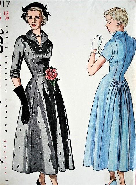 1940s LOVELY Day or Evening Dinner Party Dress Pattern SIMPLICITY 2917 Figure Flattering Design Bust 30 Vintage Sewing Pattern