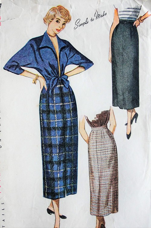 1940s Vintage SMART Waist-Length Jacket and Four Gored Skirt Simplicity 2937 Bust 32