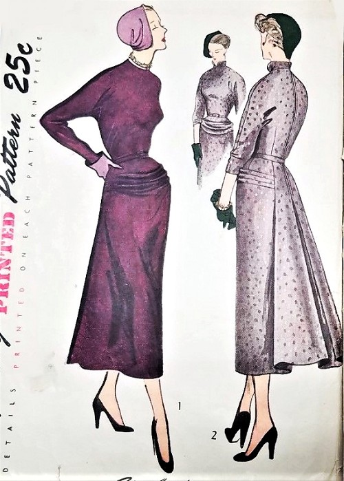 1940s STUNNING Evening Dinner Party Dress Pattern SIMPLICITY 3038 High Couture Design Details Bust 30 Vintage Sewing Pattern