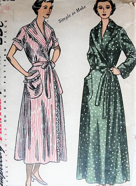 Vintage 1940s CLASSY Housecoat Robe Simplicity 3072 Sewing Pattern Bust 41