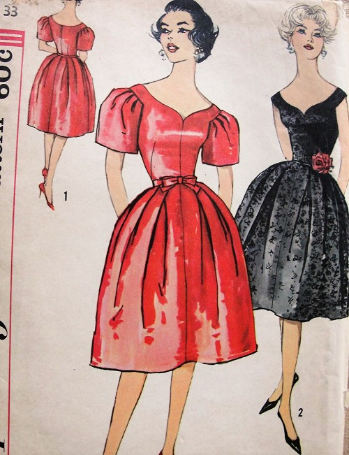 1960s Vintage LOVELY Evening Dress with Sweetheart Neckline and Gathered Skirt Simplicity 3212 Sewing Pattern Bust 33