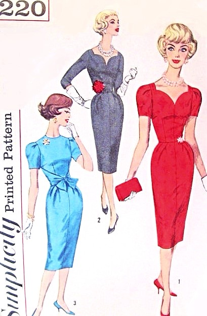 1950s Stunning SWEETHEART Neckline Cocktail Party Dress Pattern SIMPLICITY 3220 Slim Wiggle Dress 3 Style Versions Bust 32 Vintage Sewing Pattern FACTORY FOLDED