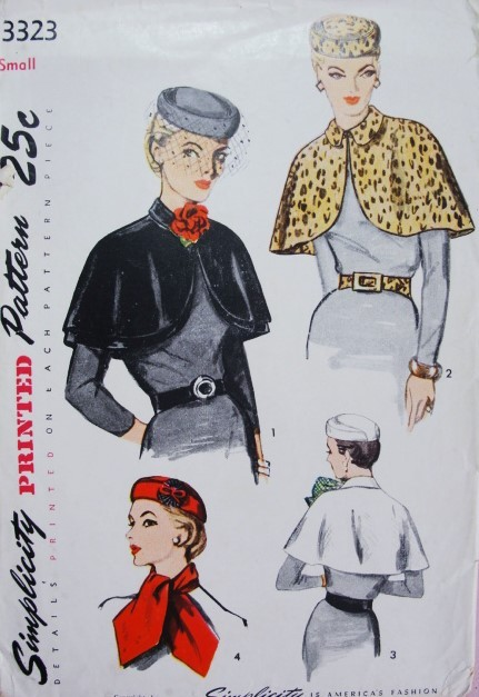 1950s Stunning Hat Cape Scarf and Belt Pattern Simplicity 3323 Day ...
