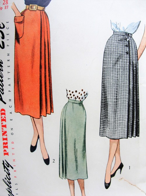 1950s Vintage STYLISH Skirt with Pleats, Pocket, Side Buttons or Zipper Simplicity 3415 Sewing Pattern