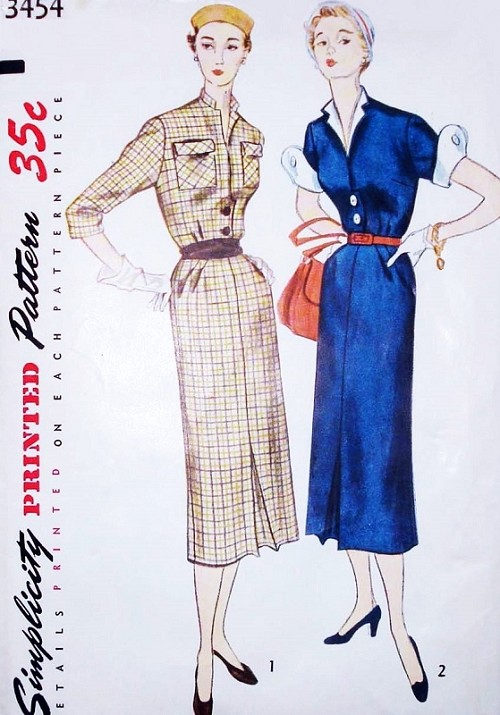 1950s Slim STYLISH Dress Pattern SIMPLICITY 3454 Two Style Versions With Detachable Neck Trim and Wing Cuffs Bust 34 Vintage Sewing Pattern