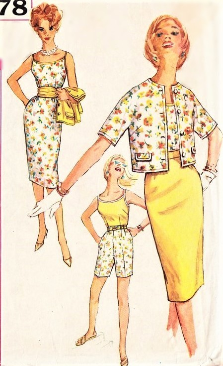 1960s FAB Weekend Wardrobe Pattern SIMPLICITY 3478 Flattering High Waist Shorts,Blouse,Slim Skirt, Jacket and Cummerbund Bust 34 Vintage Sewing Pattern