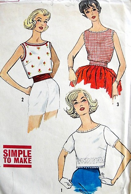 1960s FUN Retro Top or Blouse Sewing Pattern SIMPLICITY 3480 Three ...
